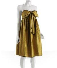 ADAM gold taffeta bow babydoll dress