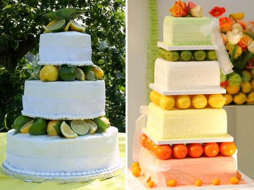 Citrus wedding cakes