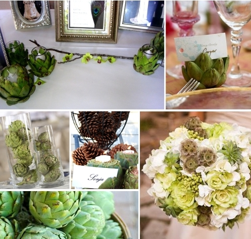 Artichokes make splendid wedding table decorations for a number of reasons