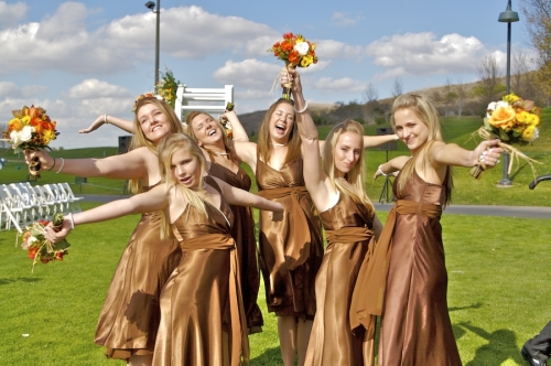 Bridesmaids in bronze