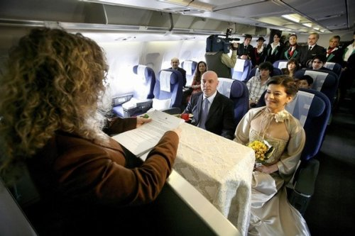 wedding in an airplane