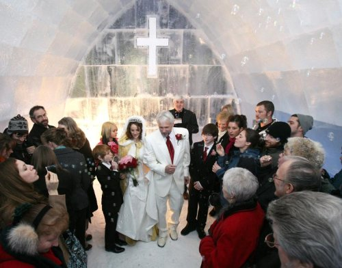 Ice chapel wedding
