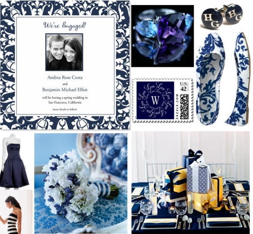 Navy blue wedding inspiration board