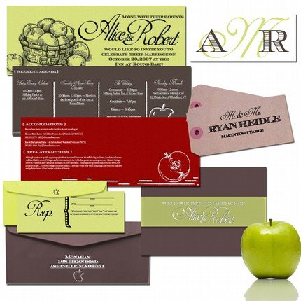 green apple wedding invitations