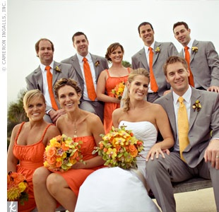orangeandgreyweddingparty