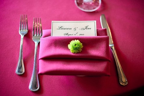 pink and green reception table