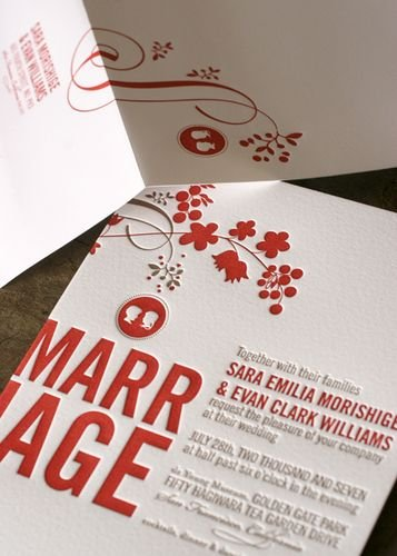 red and gray wedding invitations
