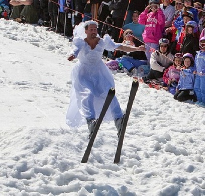 Boy Bride on Skis