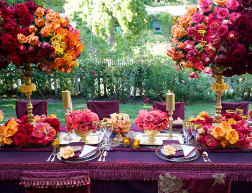 purple reception tables