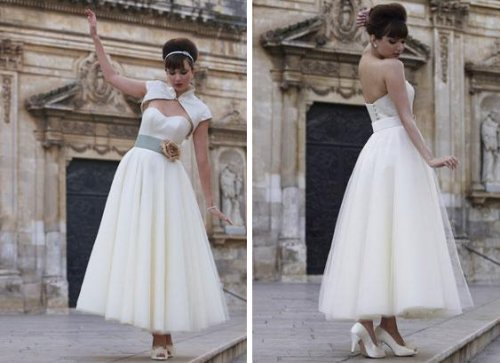 This belted wedding dress is luxurious without being stuffy