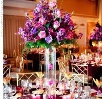 or reception centerpieces Whether you go tall Purple Tall Centerpiece