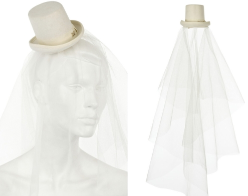 bridal tophat with veil