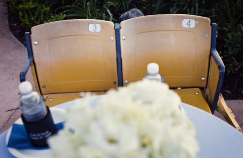 baseball wedding sweetheart table