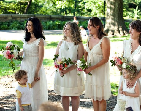 white dresses bridesmaids