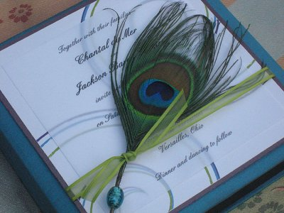 peacock blue wedding invitations 2