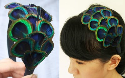 peacock wedding hair band