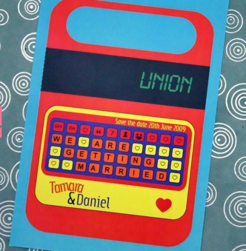 speak and spell save-the-date wedding