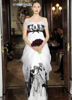 Carolina Herrera black and white wedding dress