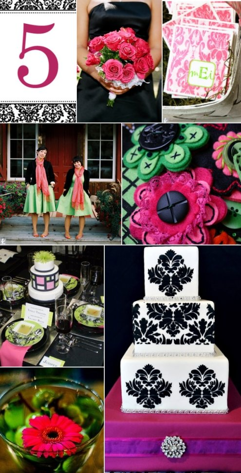 Featured on this pink green black and white inspiration board are damask