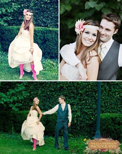 bride in colored tights