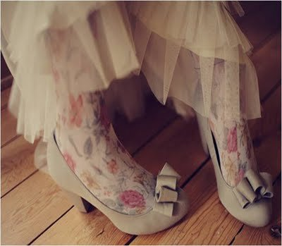 colored tights wedding dress