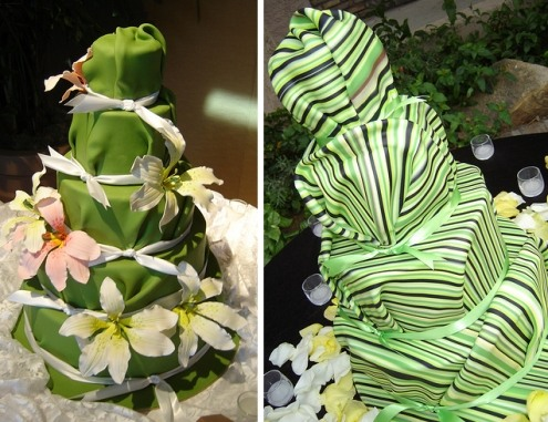fondant wrapped wedding cakes
