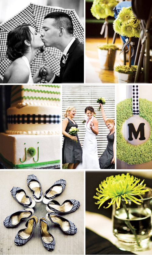 green black and white wedding