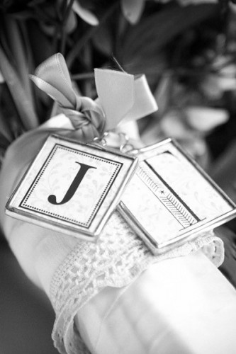 bridal bouquet monograms wedding