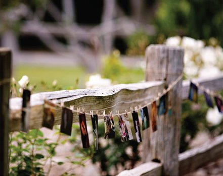 rustic photo display wedding