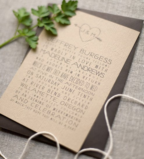 featured product is a wedding invitation with wood embossing that really