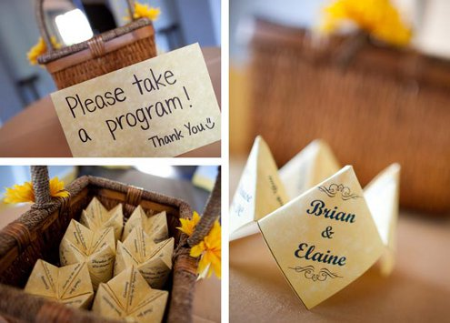 Beautiful fortune teller wedding programs spotted on Delightfully Engaged