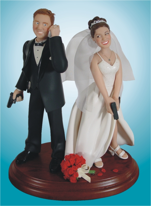 Now you too can have a topper that reflects your love of cell phones and firearms!